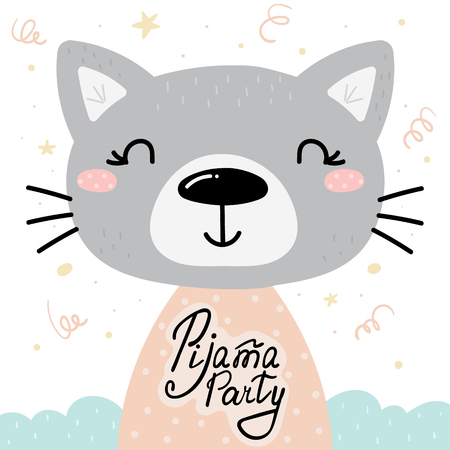 Cute Pijama Party card with hand drawn cat. vector print