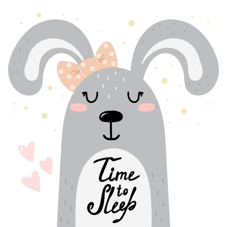 Cute Time to sleep card with hand drawn bunny. vector print  イラスト・ベクター素材