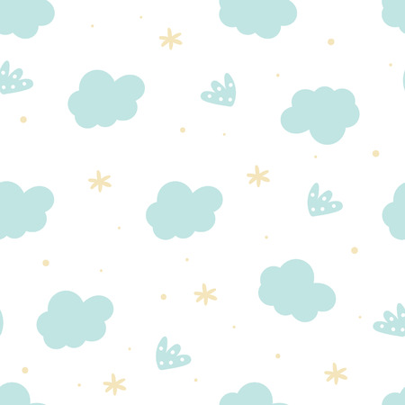 Cute hand drawn clouds and stars Seamless pattern. vector illustration 写真素材 - 124288821
