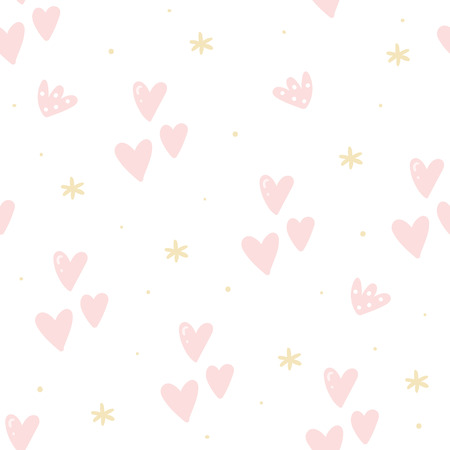 Cute hand drawn heart Seamless pattern. vector print