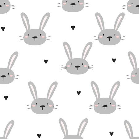 Patrón sin fisuras con lindo conejito. ilustración vectorial