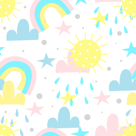 seamless rainbow and clouds pattern vector illustration.
