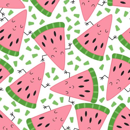 Ejemplo lindo inconsútil del vector del modelo de la fruta del melón. Ilustración de vector