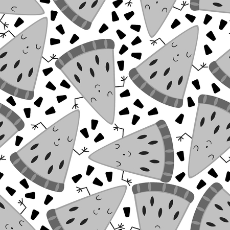 seamless cute melon fruit pattern vector illustration.