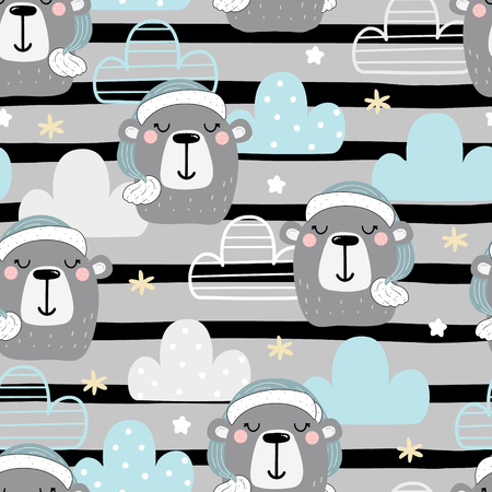 Cute seamless pattern with funny teddy bear. vector illustration. pattern with a bear and a clouds.