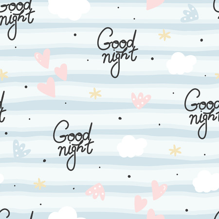 Cute hand drawn good night, clouds and stars Seamless pattern. vector illustration