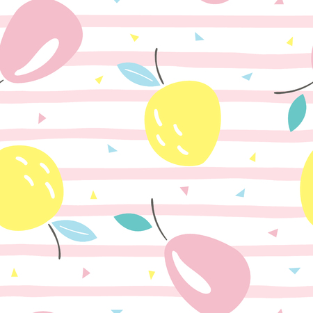 Seamless pattern with cute fruits vector illustration