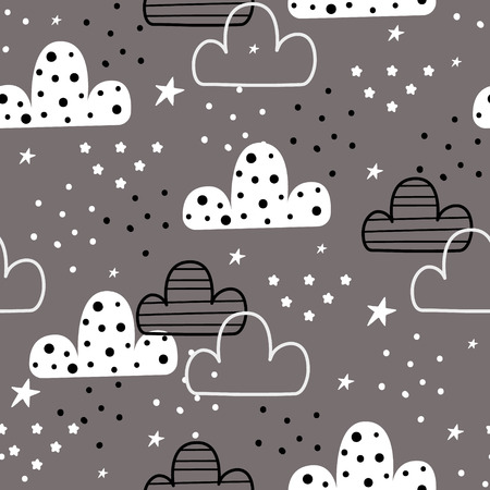 Cute hand drawn clouds and stars Seamless pattern. vector illustration