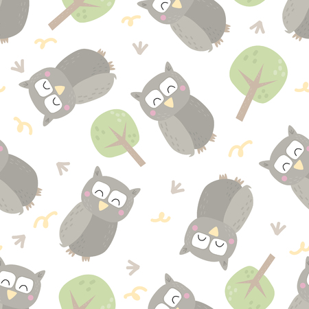 Seamless pattern with colorful funny owls. Funny owl vector illustration. You can use the print design for t-shirts, posters and cards.
