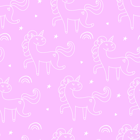 Hand drawn seamless vector pattern with cute unicorns, stars and planet. Repetitive wallpaper on pink background. Perfect for fabric, wallpaper, wrapping paper or nursery decor.  イラスト・ベクター素材