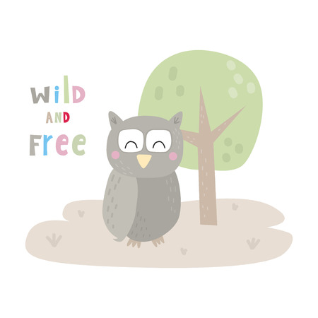 Cute cartoon character owl. Funny owl vector illustration.