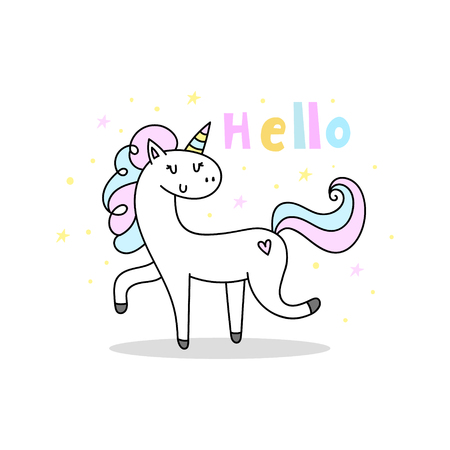 Cute cartoon character unicorn. You can use the print design for t-shirts, posters and cards. Print for Baby Shower
