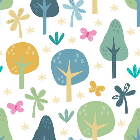 The vector illustration seamless pattern of forest elements. Illustration