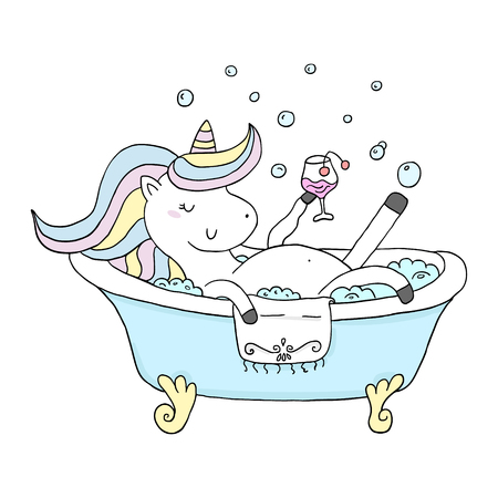 Cute cartoon character unicorn. You can use the print design for t-shirts, posters and cards. vector print  イラスト・ベクター素材