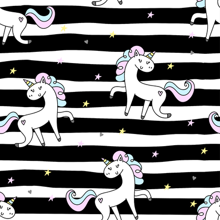 Hand drawn seamless vector pattern with cute unicorns, stars and planet. Repetitive wallpaper on white background. Perfect for fabric, wallpaper, wrapping paper or nursery decor.
