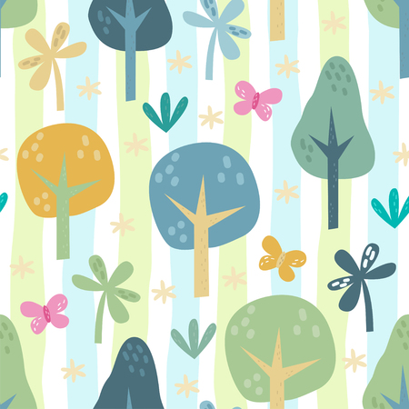 The vector illustration seamless pattern of forest elements.  イラスト・ベクター素材