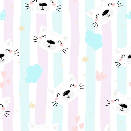 Seamless pattern with Cute cat. Pet animal vector print.