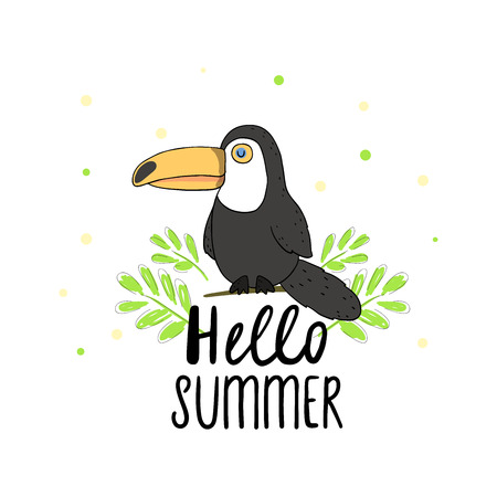 Hello summer. Cartoon vector illustration of a little cute toucan bird perching on a tree branch.
