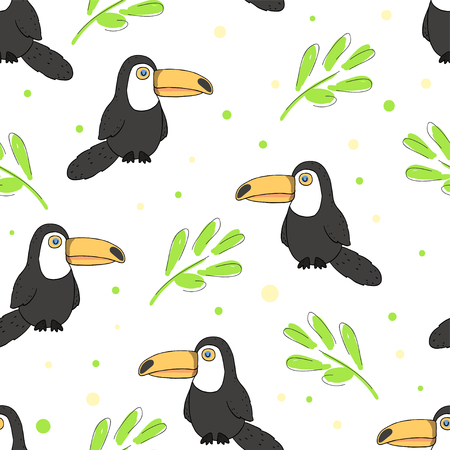 Vector illustration toucan and Tropical floral summer seamless background pattern  イラスト・ベクター素材
