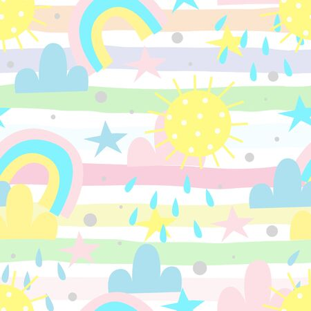seamless rainbow and clouds pattern vector illustration 写真素材 - 129879458