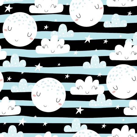 Cute hand drawn clouds and stars Seamless pattern. vector illustration.