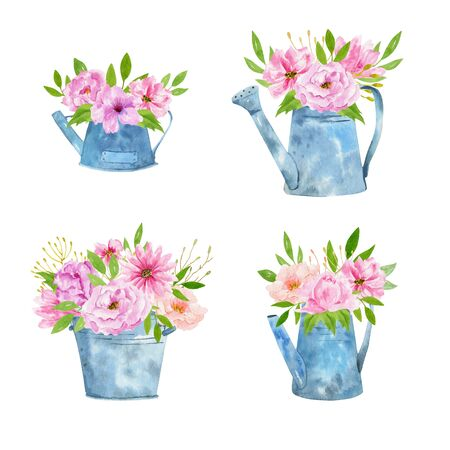 Set of Watercolor vintage gardening tools rusty tin watering can for watering flowers. Hand drawn isolated illustration on white background. Flower bouquets 写真素材