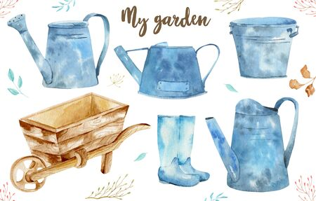 Watercolor vintage gardening tools rusty tin watering can for watering flowers, garden car, galoshes. Hand drawn isolated illustration on white background. 写真素材