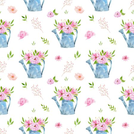 Watercolor seamless pattern with flowers, bohemian watercolour decoration pattern. Design for invitation, wedding or greeting cards