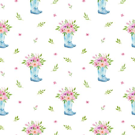 Watercolor seamless pattern with flowers, galoshes bohemian watercolour decoration pattern. Design for invitation, wedding or greeting cards