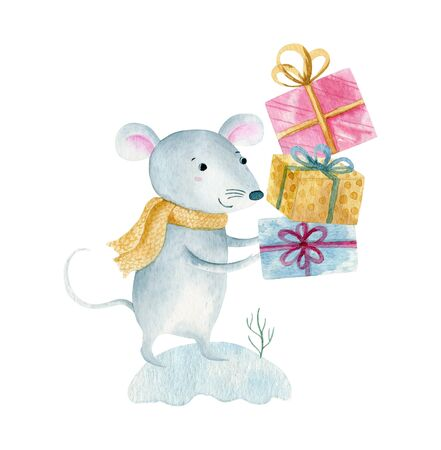 Cute cartoon christmas rat mouse. Watercolor hand drawn animal illustration. Isolated on white background.
