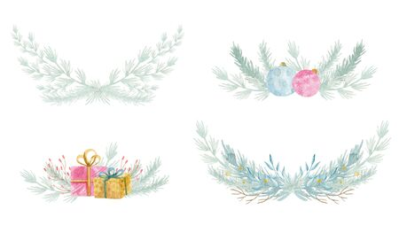 Watercolor winter floral fir wreath. Merry Christmas and Happy New Year holiday decoration card design. Hand painted tree branches composition. 写真素材