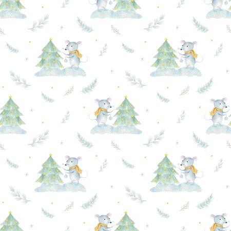 Watercolor seamless pattern with Cute cartoon christmas rat mouse. Watercolor hand drawn animal illustration. New Year 2020 holiday drawing 写真素材