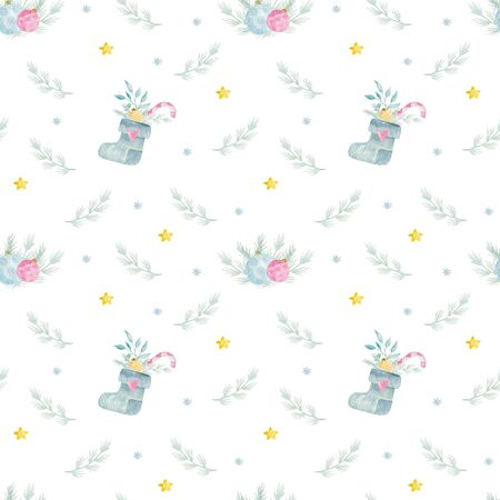Watercolor seamless pattern with Traditional Christmas decorations. 写真素材 - 128902816