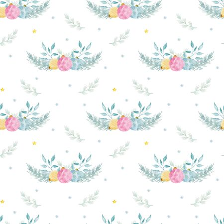 Watercolor seamless pattern with Traditional Christmas decorations. 写真素材 - 128902820