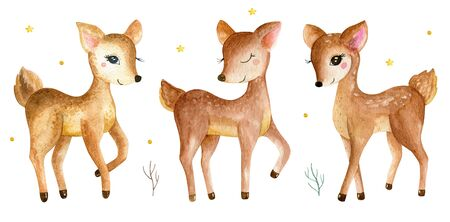 Cute baby deer animal for kindergarten, nursery isolated illustration for children clothing, pattern. Watercolor Hand drawn for phone cases design, nursery posters, postcards 写真素材 - 128902822
