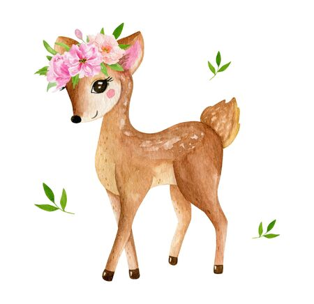 Cute baby deer animal for kindergarten, nursery isolated illustration for children clothing, pattern. Watercolor Hand drawn for phone cases design, nursery posters, postcards 写真素材 - 128902815