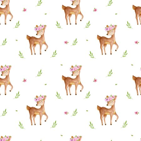 Cute watercolor baby deer animal seamless pattern, nursery isolated illustration for children clothing, patterns. Watercolor Hand drawn image Perfect for phone cases design, nursery 写真素材 - 128903049