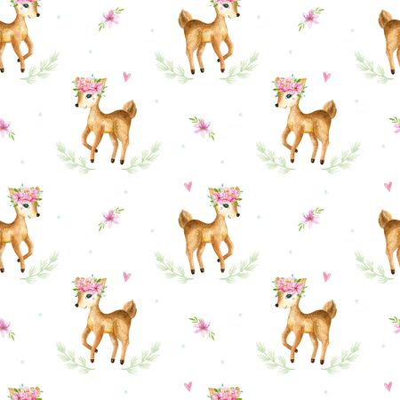 Cute watercolor baby deer animal seamless pattern, nursery isolated illustration for children clothing, patterns. Watercolor Hand drawn image Perfect for phone cases design, nursery 写真素材 - 128903051