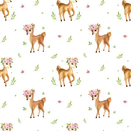 Cute watercolor baby deer animal seamless pattern, nursery isolated illustration for children clothing, patterns. Watercolor Hand drawn image Perfect for phone cases design, nursery 写真素材 - 128903061
