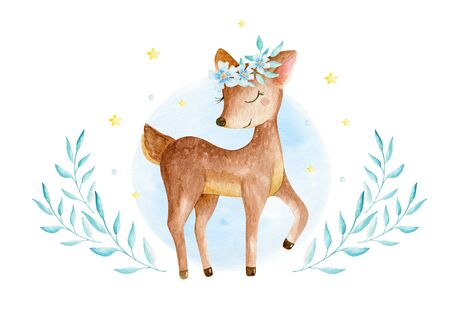 Cute baby deer animal for kindergarten, nursery isolated illustration for children clothing, pattern. Watercolor Hand drawn for phone cases design, nursery posters, postcards 写真素材 - 128903077