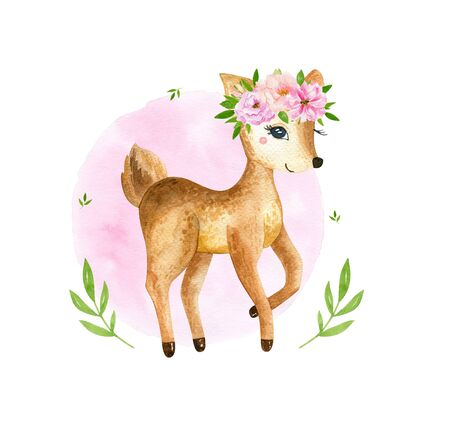 Cute baby deer animal for kindergarten, nursery isolated illustration for children clothing, pattern. Watercolor Hand drawn for phone cases design, nursery posters, postcards 写真素材 - 128903063