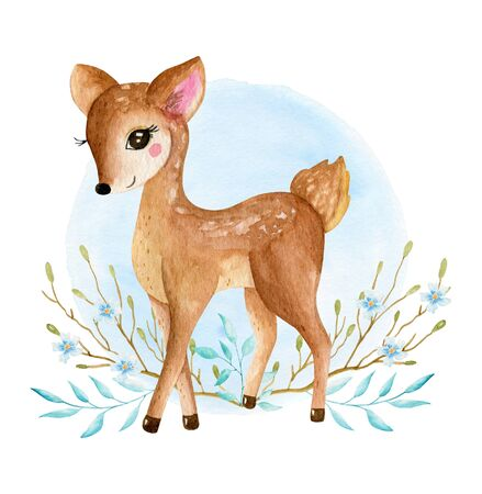 Cute baby deer animal for kindergarten, nursery isolated illustration for children clothing, pattern. Watercolor Hand drawn for phone cases design, nursery posters, postcards 写真素材 - 128903072