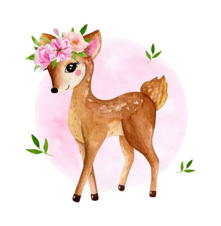 Cute baby deer animal for kindergarten, nursery isolated illustration for children clothing, pattern. Watercolor Hand drawn for phone cases design, nursery posters, postcards 写真素材 - 128903073