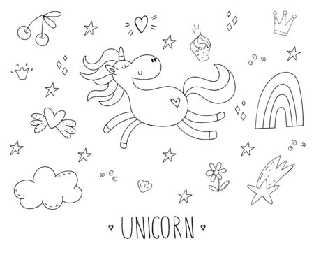 Cute hand drawn coloring page with character unicorn. vector illustration. print for kids. cartoon print.  イラスト・ベクター素材