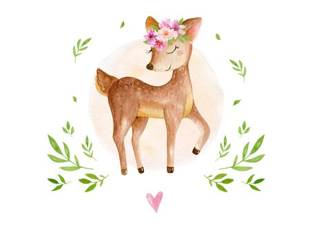 Cute baby deer animal for kindergarten, nursery isolated illustration for children clothing, pattern. Watercolor Hand drawn for phone cases design, nursery posters, postcards 写真素材 - 131826016