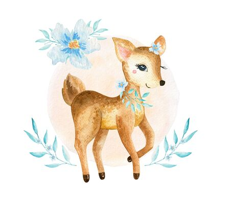 Cute baby deer animal for kindergarten, nursery isolated illustration for children clothing, pattern. Watercolor Hand drawn for phone cases design, nursery posters, postcards 写真素材 - 131824697