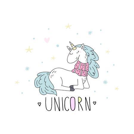 Cute hand drawn Christmas character unicorn. Christmas print with Unicorn. vector illustration. print for kids. cartoon print.