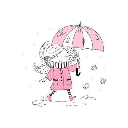 Hand Drawn cute little girl. Cute little girl in pink coat and stripy scarf hiding under umbrella during during the rain weather. Vector doodle illustration in pink colour for girlish designs like textile apparel print, wall art 写真素材 - 129410952