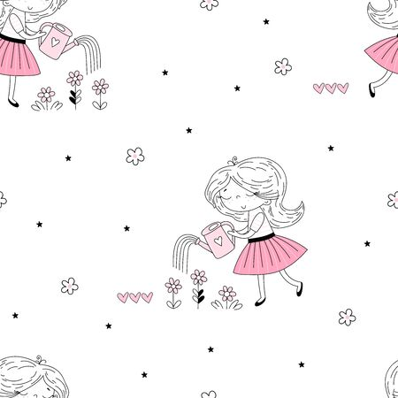 Vector seamless pattern illustration. Cute little girl watering flowers. Perfect for baby girl fabric. Vector funny doodle illustration for girlish designs like textile apparel print, wall art.