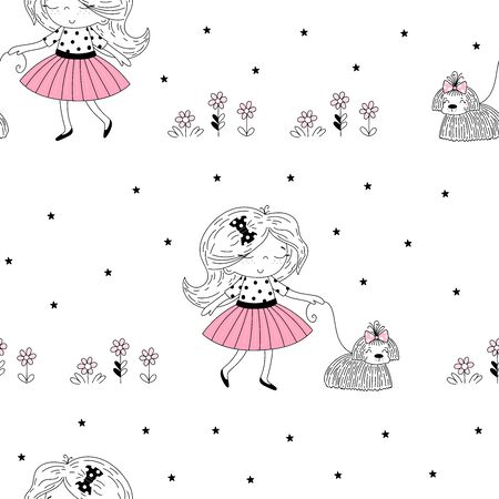 Vector seamless pattern illustration. Cute little french girl in pink and dog. Life is beautiful phrase. Simple minimalistic vector doodle illustration for girls 写真素材 - 132553538